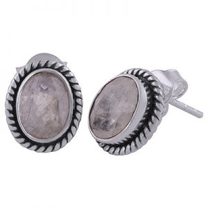 MOONSTONE FACET CUT STONE EARRINGS